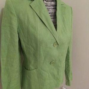 Talbots spring green Irish linen blazer